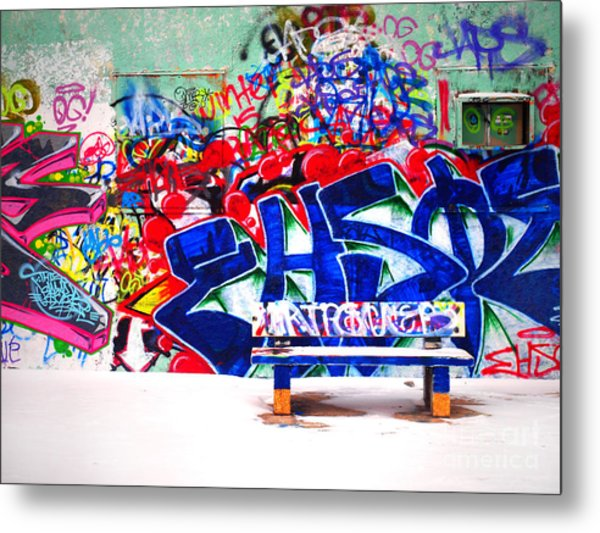 Snow And Graffiti Metal Print