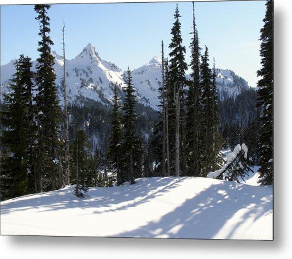Snow And Shadows On The Mountain Metal Print