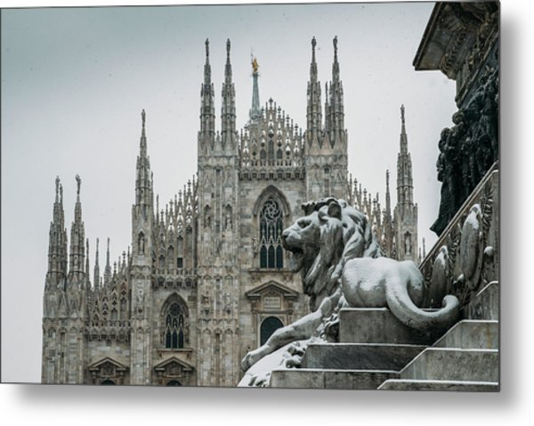 Snow At Milan's Duomo Cathedral  Metal Print