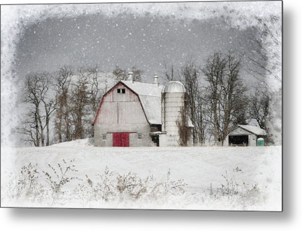 Snow Barn Metal Print