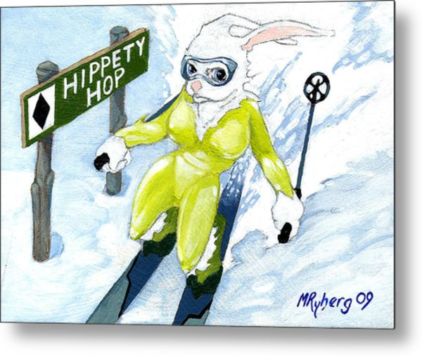 Snow Bunny Skiing Metal Print by Mark Ryberg