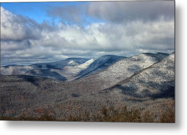 Metal Print featuring the photograph Snow-capped Catskills  by Jessica Tabora