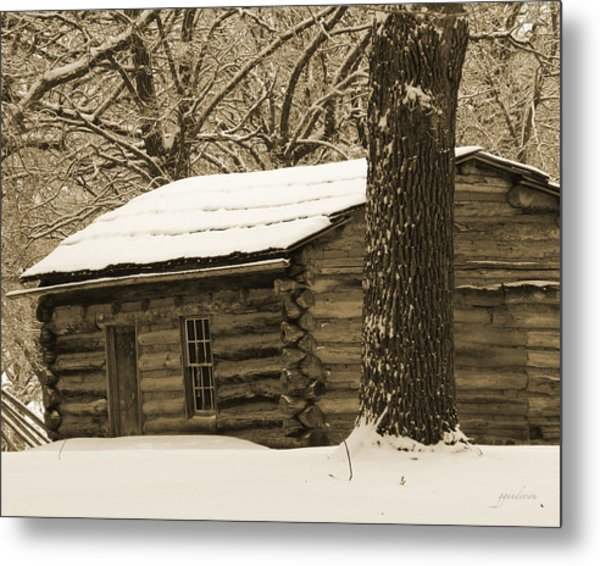 Snow Covered Gardner Cabin Metal Print
