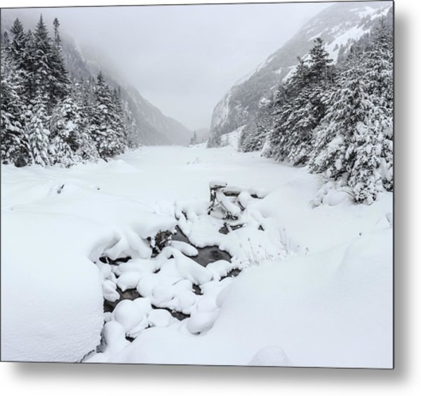 Snow Covered Lake Metal Print