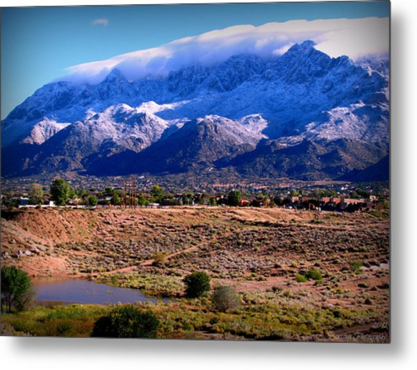 Snow Covered Mountains Above The Pond Metal Print
