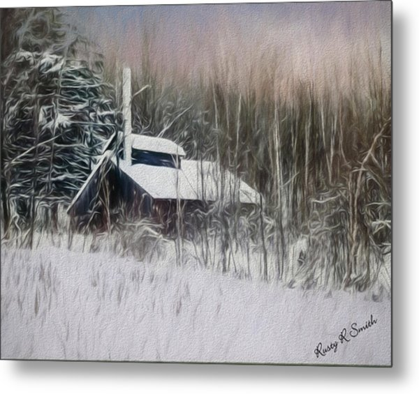 Snow Covered Vermont Sugar Shack.  Metal Print
