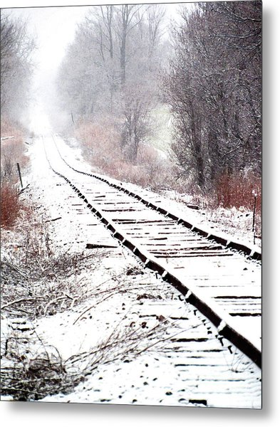 Snow Covered Wisconsin Railroad Tracks Metal Print