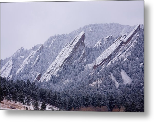 Snow Dusted Flatirons Boulder Colorado Metal Print