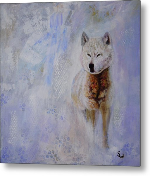 Snow Fox Metal Print