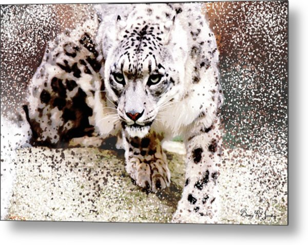 Metal Print featuring the digital art Snow Leopard by Barry Jones