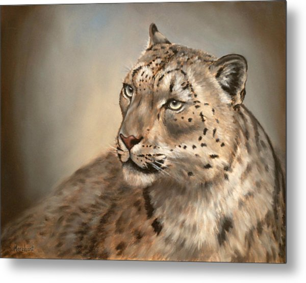 Metal Print featuring the painting Snow Leopard by Linda Merchant