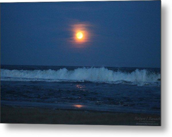 Snow Moon Ocean Waves Metal Print