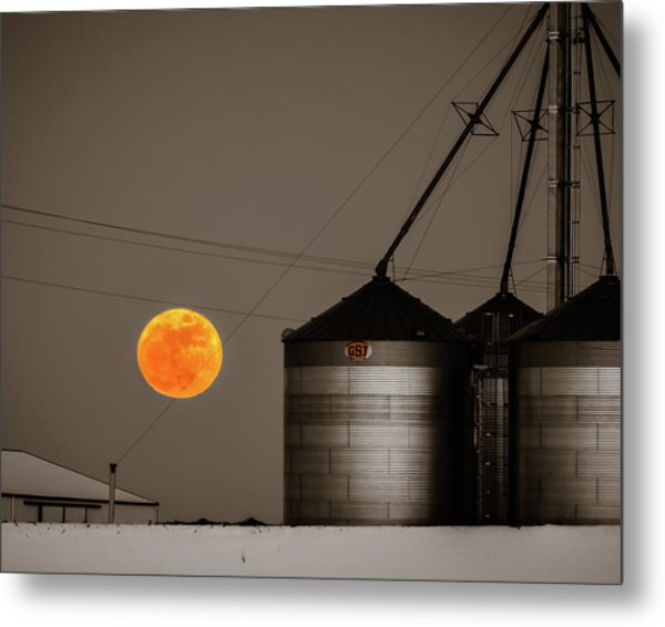 Snow Moon Rising Metal Print