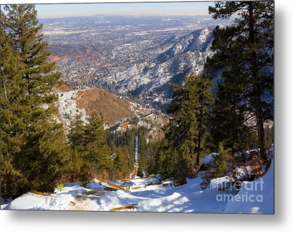Snow On The Manitou Incline In Wintertime Metal Print