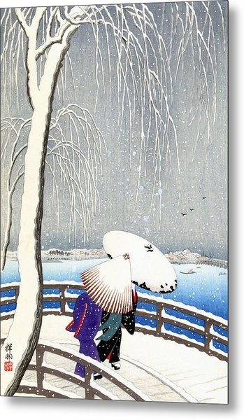 Snow On Willow Bridge By Koson Metal Print