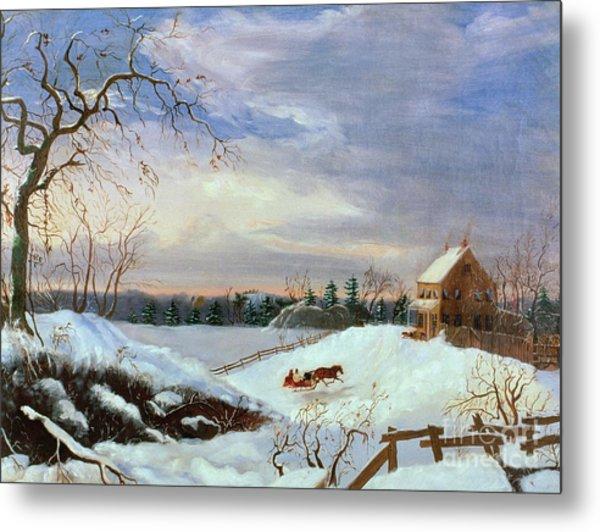 Snow Scene In New England Metal Print