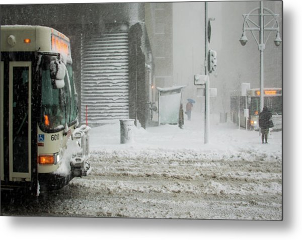 Metal Print featuring the photograph Snow Storm Bus Stop by Stephen Holst