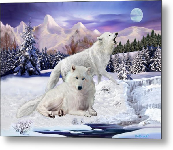 Snow Wolves Of The Wild Metal Print