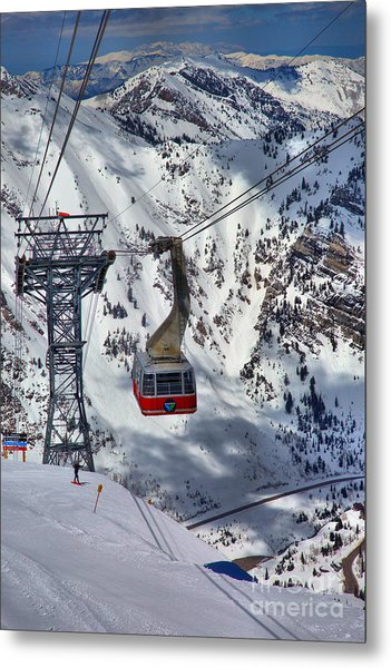 Snowbird Tram Portrait Metal Print