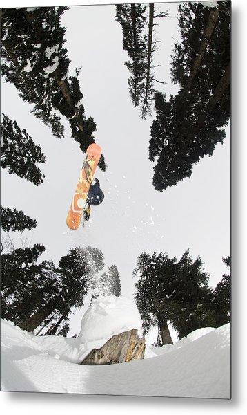 Snowboarding At Gulmarg Resort Metal Print by Christian Aslund