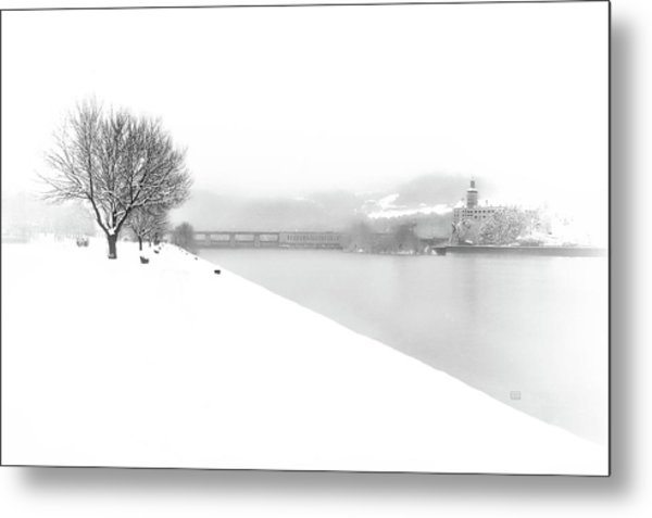 Snowfall On The River Danube At Ybbs Metal Print