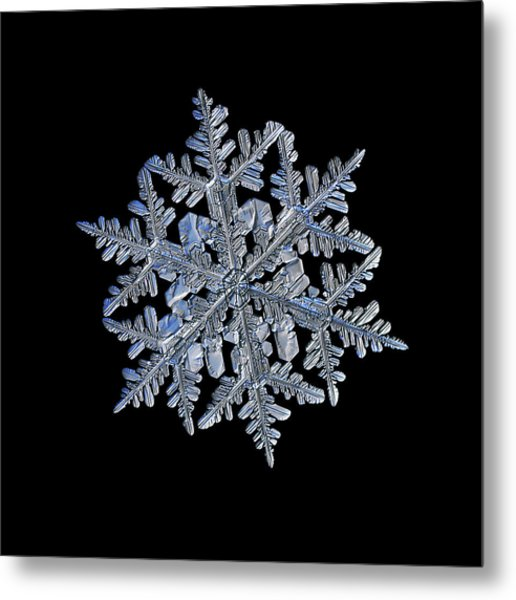 Snowflake Macro Photo - 13 February 2017 - 3 Black Metal Print
