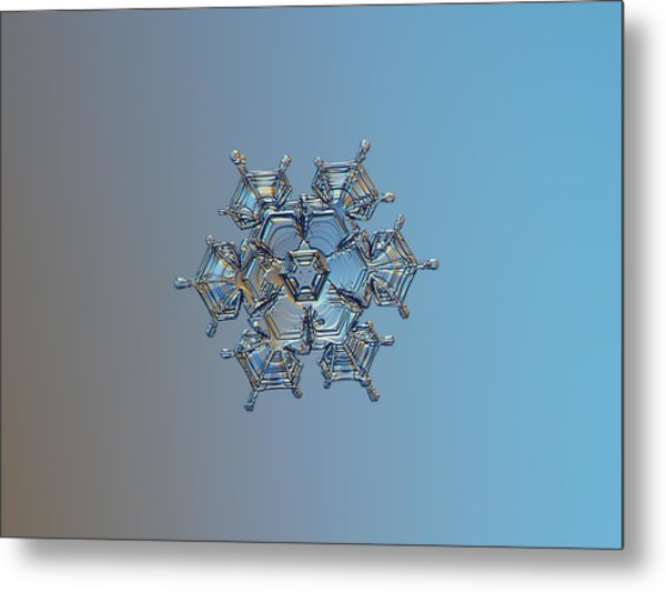 Snowflake Photo - Flying Castle Metal Print