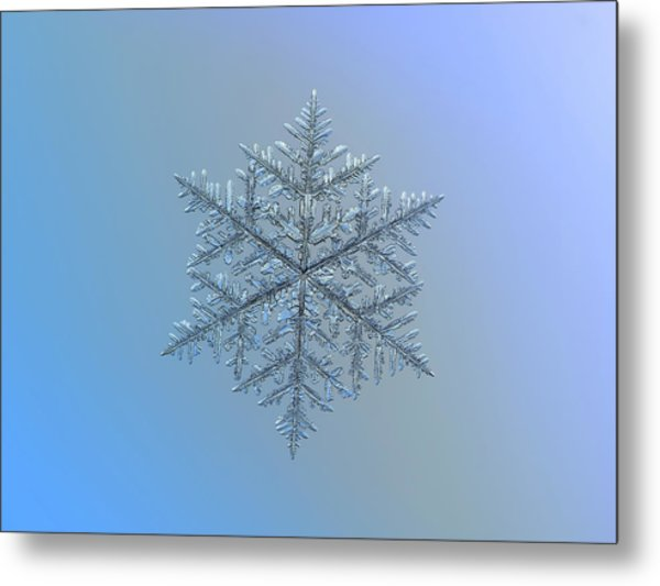 Snowflake Photo - Majestic Crystal Metal Print