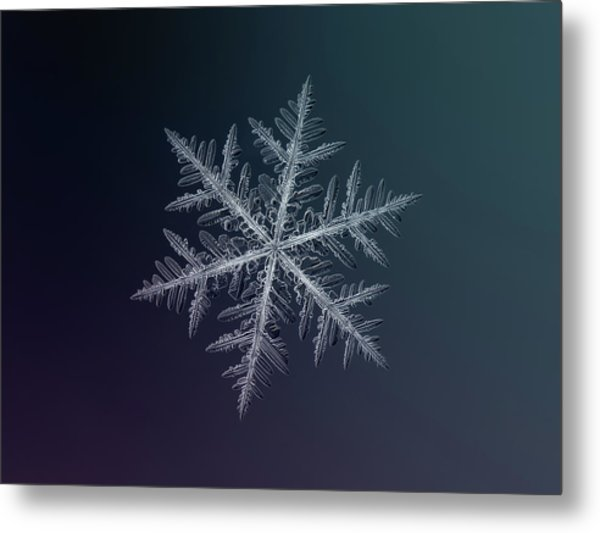 Snowflake Photo - Neon Metal Print