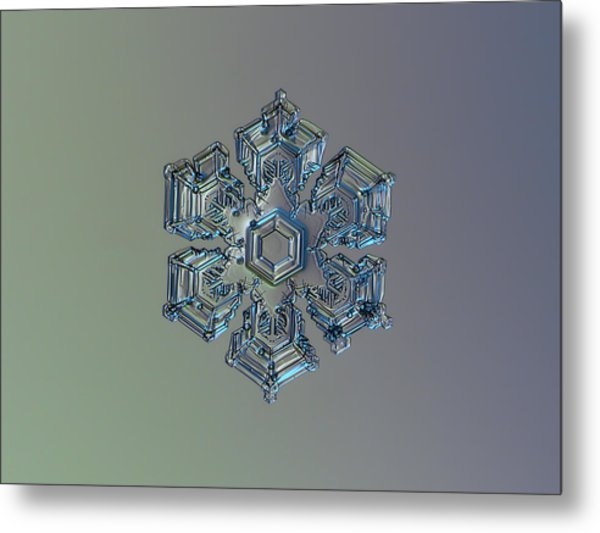 Snowflake Photo - Silver Foil Metal Print