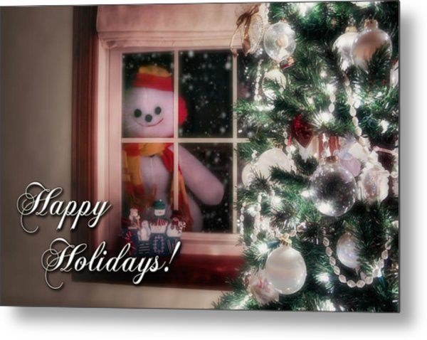 Snowman At The Window Card Metal Print