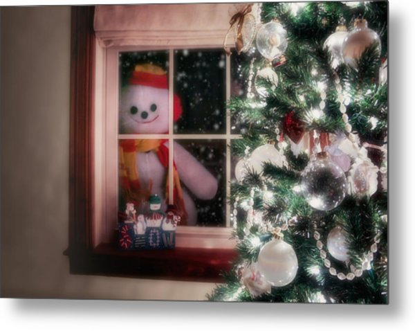 Snowman At The Window Metal Print
