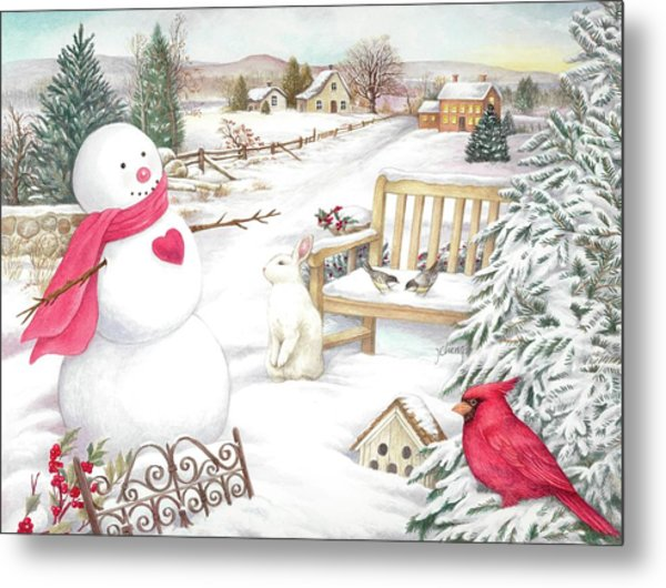 Snowman Cardinal In Winter Garden Metal Print