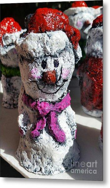 Snowman Pink Metal Print