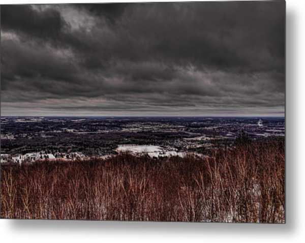 Snowstorm Clouds Over Rib Mountain State Park Metal Print