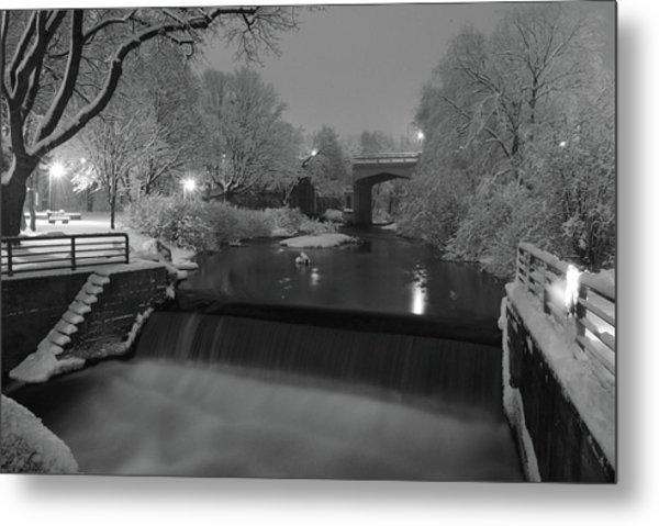 Snowy Bear River Metal Print