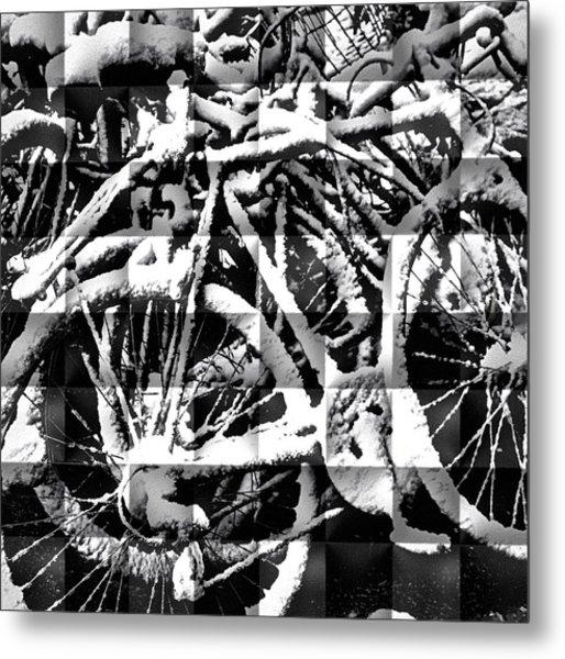 Snowy Bike Metal Print