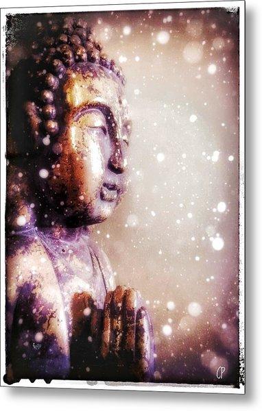 Snowy Buddha Metal Print