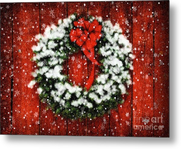 Snowy Christmas Wreath Metal Print