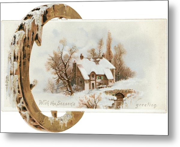 Snowy Cottage Landscape With Wooden Metal Print by Gillham Studios