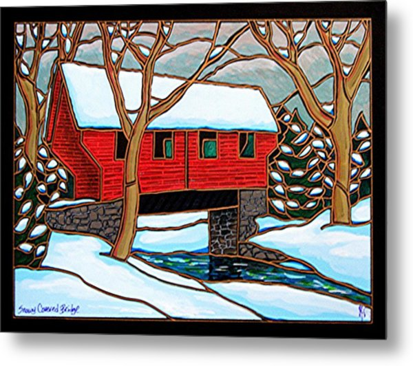 Snowy Covered Bridge Metal Print