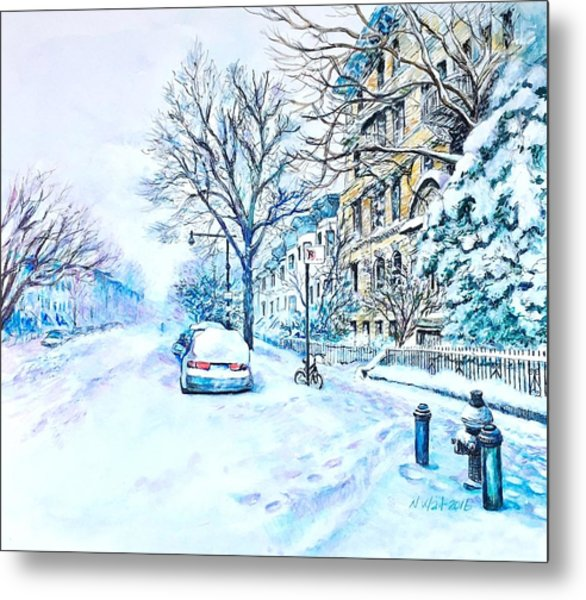 Snowy Day Brooklyn  Metal Print