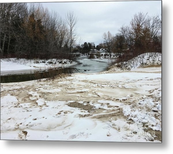 Snowy Elk Rapids River Metal Print
