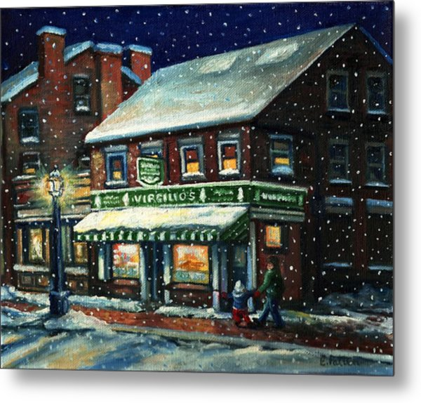Snowy Evening In Gloucester, Ma Metal Print