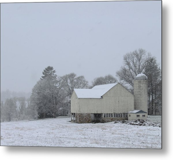 Winter White Farm Metal Print