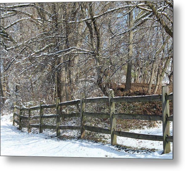 Winter Fence Metal Print