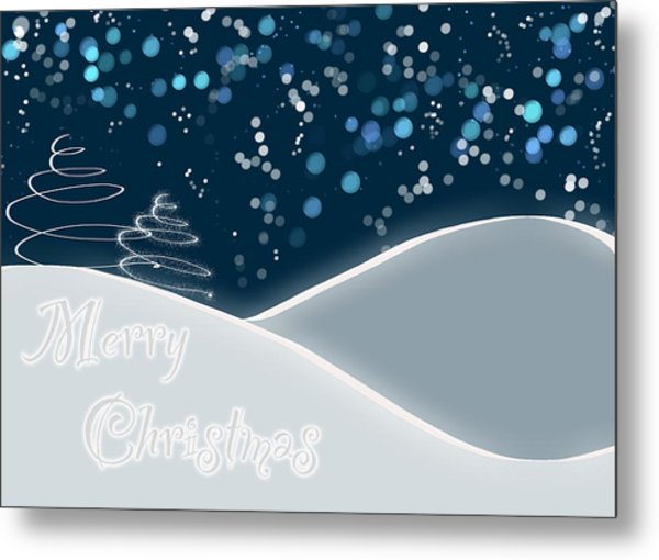 Snowy Night Christmas Card Metal Print