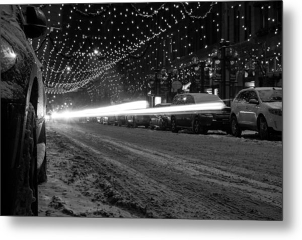 Snowy Night Light Trails Metal Print