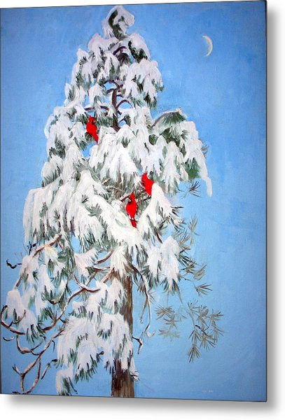 Snowy Pine With Cardinals Metal Print by Ethel Vrana