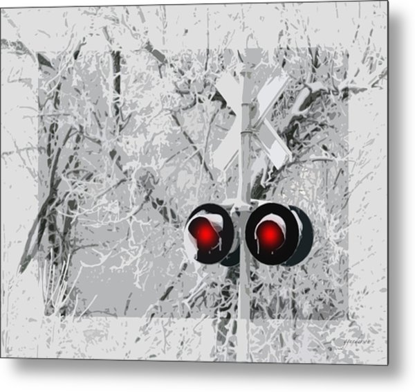 Snowy Red Light At Rr Crossing Metal Print